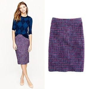 J. Crew No. 2 Pencil Skirt Multicolor Tweed 8